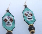 Calavera Skulls Earrings, White, Seafoam, 24K Gold Beads, Silver Hooks