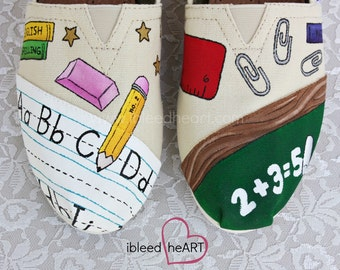 School Teacher Custom Painted TOMS Shoes - School Supplies - Hand Painted Shoes - Teacher Gifts - Personalized TOMS - Wearable Art