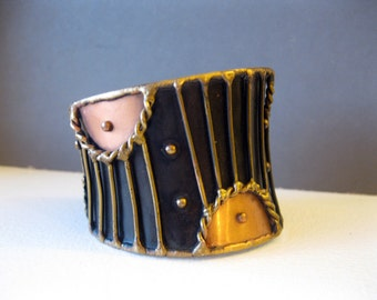 vintage cuff Bracelet oxidized copper and brass handmade