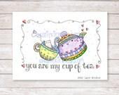 Kitchen Wall Art,Kitchen Decor,Tea Lovers Art Print,Teacup Print,Teapot Print,Teacup Art,Modern Kitchen Art,Tea Lovers Gift, Love,art print