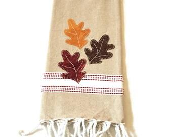 dish towel fall leaves applique