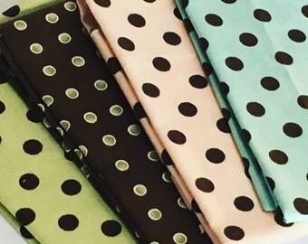 Various Polka Dot Fat Quarters Plus 2 FREE Bonus Fat Quarters
