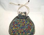 Vintage 1940's Multi-Color Bead Drawstring Purse Handbag Bag