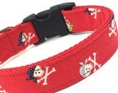 Custom Dog Collar - Red Pirates Collar - Red Dog Collar with Skulls - Pirate Dog Collar