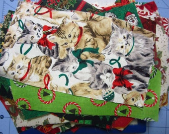 3 ozs of Christmas Cotton Fabric Scraps Sewing Quilting Crafting Destash