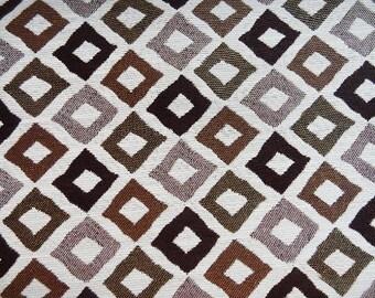 Custom Curtains Valance Roman Shade in Dark Brown / Beige in Artistic Geometric Pattern