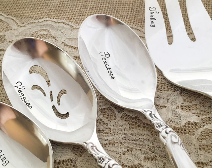 5 piece thanksgiving serving set. hand stamped serving set, vintage silverplate. Leilani