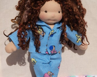 Waldorf Doll Clothes-Two piece Waldorf Doll Blue Teddy Bear  Flannel pajamas ,fit 9 inch dolls