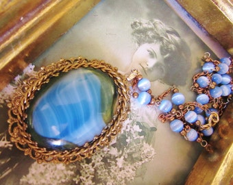 Antique Brass Blue Slab Glass Oval Pendant with Blue Cats Eye Marble Glass Beaded Chain