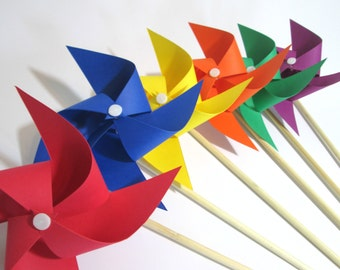 Paper Pinwheels Rainbow Favors Birthday Party Favors Crayola Favors Pinwheels Baby Shower Table Centerpiece Photo Prop Art or Unicorn Party