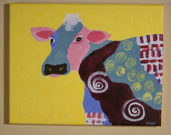 Original abstract acrylic painting, Cow, wrapped canvas