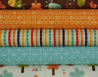 Giraffe Crossing Brown 5 Fat Quarters Bundle by Riley Blake Designers for Riley Blake, 1 1/4 yards total