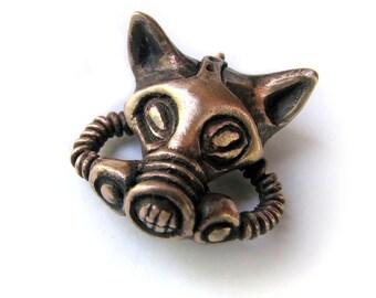 Bronze cat gas mask pendant