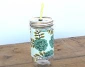 Aqua Roses - Mason Jar cup  24 oz large Tumbler w sleeve- travel mug - teachers gift - candy swirl straw included