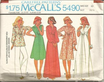 1970s Plunging V Neckline Evening Dress Day Dress High Waist Sleeve Variations McCall's 5490 Size 10 Bust 32.5 Vintage Sewing Pattern