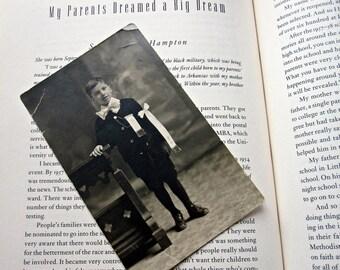 Antique Formal School Portrait of Young Boy in Black Velvet School Uniform, Wearing Medal/ Edwardian School Boy on a Postcard