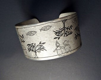 Metal Cuff Bracelet  - Vintage Etched  Metal Whimsical Child Drawing - Grandma Gift - Mother's Day Gift