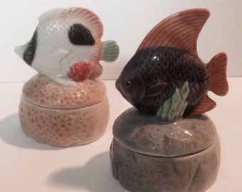 TWO Fish Trinket Boxes, Handsome and Colorful, Beautiful Accent Fish!