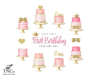 Cake clip art - Girl's first birthday clip art - Tiered cakes - Cake illustrations - Invitation commercial use graphics - Pink birthday cake