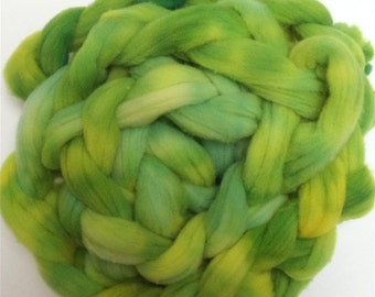 "Babydoll Southdown Wool for Spinning 4 Ounce Braid Combed Top Roving Lime Green and Yellow Fiber  "" Lemon Lime """