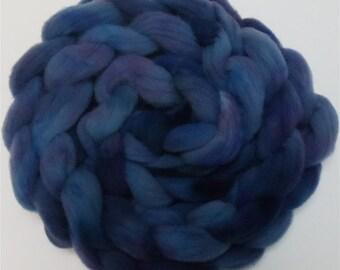 "Wool Roving for Spinning Babydoll Wool Fiber Needle Felting 4 Ounce Braid Combed Top Blue  "" Blue Seranade """