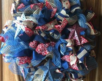 Red white and blue Denim/mesh wreath