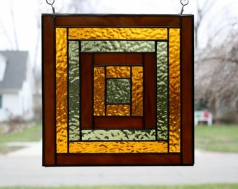 Stained Glass Suncatcher Log Cabin Quilt Panel Handmade