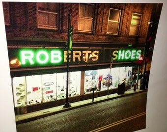 Original 8 by 8 photo on 14 by 14 paper vintage Roberts shoes rob hoes shoe store art