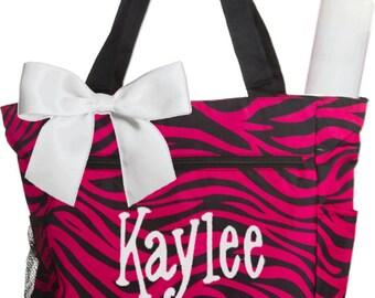 Personalized Black Fuchsia Zebra Pattern Diaper Bag