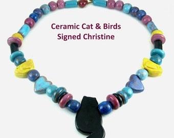 SALE Christine Multicolor Ceramic CAT & BIRDS Beads Necklace