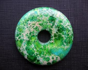 Beautiful Yellow Green Cyan Variscite Sea Sediment Jasper Donut Pendant