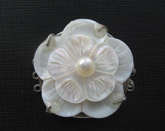 Large Carved White Shell Freshwater Pearl Flower Clasp Triple Strands