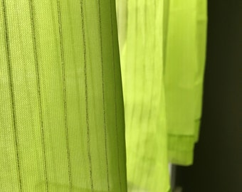 LIME green - SHEER CAFE curtains - yellow pin stripes - set of 2 - single window- playful