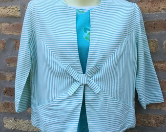 SUMMER jacket - TURQUOISE and white - BOW - light weight - pockets - three quarter sleeves - blazer - size M