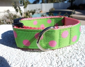 """Sale Dog Collar Pink Polka Dots 1"""" wide adjustable side release buckle - martingale style is cost upgrade"""
