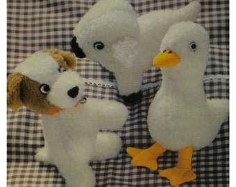 "Babies Stuffed Toys, Small Puppy, Lamb, Duck, Soft, Fake Fur, Style No. 2422 UNCUT Size 7-9"" 21-23 cm"