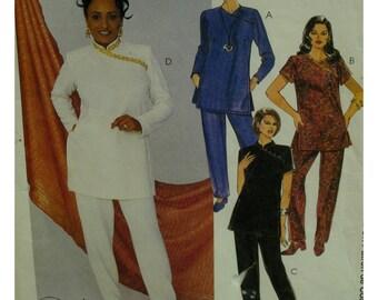Asian Style Tunic Pattern, Diagonal Shoulder, Mandarin Collar, Short/Long Sleeves, Side Slits, Tapered Pants, McCalls No. 9394 Size 4 6 8