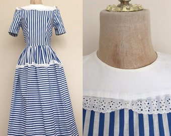 20% OFF 1940's Blue & White Stripe Vintage Fit and Flare Dress by Maeberry Vintage Size XS