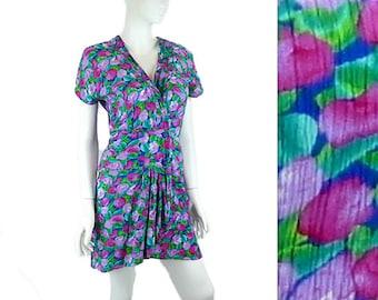 Peek-a Boo Wrap Dress, Floral Print Mini Dress, Jewel Tones, Crinkle Finish, Vintage 1970 Size Small