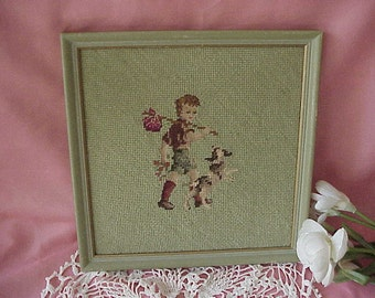 Vintage Cottage Needlepoint Boy and Dog Picture