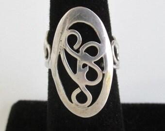 925 Sterling Silver Ring - Vintage Long Filigree Design - Size 5 1/2