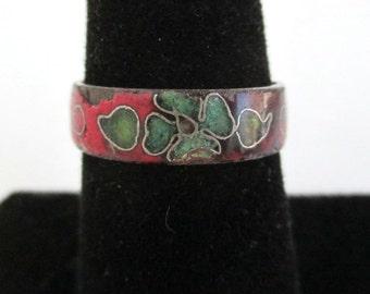 Vintage Enameled Flower Band / Ring - Size 6 1/4