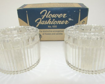 Vintage FLOWER FASHIONER FROGS No 650 Flower Arranging Arranger Set of Two In Original Box Flowers and Candles Centerpiece Gadjo