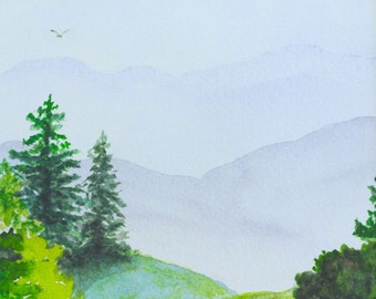 The Mountains Are Calling, Blue Ridge GICLEE mountain landscape, fir trees, evergreens, 8x10, by MarthaKuperBrinson