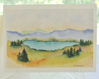 ORIGINAL watercolor painting BIRTHDAY CARD, mountain lake landscape greeting card, hand-painted watercolor greeting card