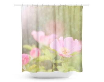 Shabby Chic Shower Curtain - Bathroom Decor - Ethereal Shower Curtain - Pink  and Green - Floral Shower Curtain - Bokeh Shower Curtain