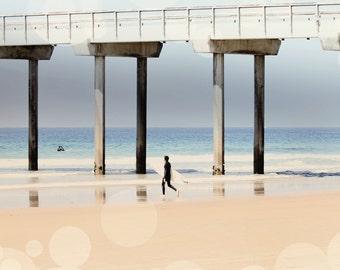 Beach Photography - Blue and Tan Photo - Boardwalk Photograph - Square Photo - Wall Print - Ocean Photography - Geometric Photo - Dorm Photo