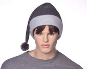 Custom order for Colette Jumbo Dark Gray Stocking Cap Long Pointed Beanie Hat Light Grey for Man or Woman