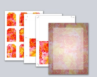 Watercolor Roses Stationery Set, Instant Download, Printable Stationery Kit, Stationary Cards, Stationary Kit, Stationary Paper