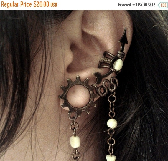 Steampunk Moon Flower Ear Cuff - Customizable with beaded chains